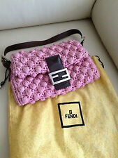 Authentic Fendi Pink Knotted Wool Baguette Bag