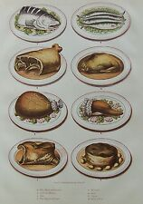 OLD PRINT COOKERY FOOD DISHES MEALS c1890's by KRONHEIM TABLE PRSENTATIONS