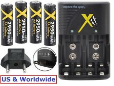 4AA BATTERY + 110/220V CHARGER FOR FUJIFILM FINEPIX HS20EXR