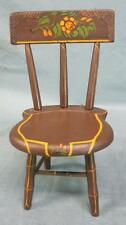 Antique Miniature Primitive Painted Child's Windsor Style Chair Stenciled