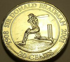 Large Unc Australia 2001 20 Cents~Sir Donald Bradman~Cricketer Champion~Free Shi