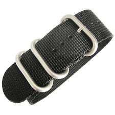 22mm deBeer Ballistic Nylon Black UTC Military One-Piece Dive Watch Band Strap