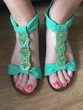 Ladies Green Lightweight Sandal Size 40 6.5 I. Excellent Condition