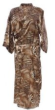 (810504)Animal Print Ladies Long Silk Satin Feel Kimono Robe  Gown 12-18 UK
