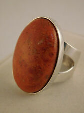 JAY KING ORANGE SPINY OYSTER STERLING RING SZ 9 3/4 DRT CHINA 925