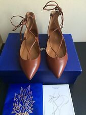 NIB $675 Aquazzura Christy Lace Up Pointed Toe Flat Luggage/Brown -size 7.5/37.5