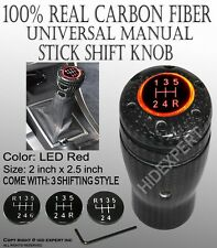 PIA Carbon Fiber Manual Car w/Red LED Gear Stick Shift knob Race Shifter MK#4