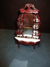 Dollhouse Miniature Mahogany Mirrored Dressing Table w/ shelves