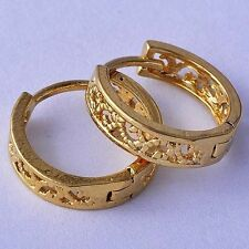 Little Girls Childrens Huggie Hollow Out Flower Hoop Earrings Yellow Gold Plated