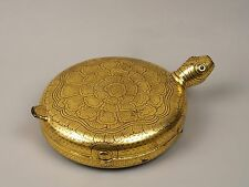 An unusual antique burmese doré laqué betel box-tortue forme.