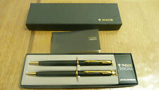 PARKER INSIGNIA MATTE BLACK & GOLD BALLPOINT PEN & PENCIL ** BOXED **