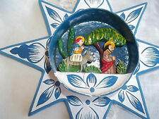 Holy Family paper mache Wall Decoration 8 point Star Hand Painted Diorama