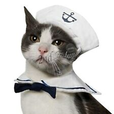 Pet Dog Cat Sailor Uniform Costume Xmas Fancy Dress Halloween Hat &Cape Outfit