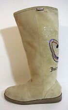 Jucy Couture SUEDE High Winter boots Beige Tan embroidered  sz 10 *1008