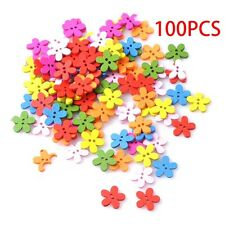 100Pcs 2Holes Flower Wooden Decorative Buttons For Sewing Scrapbooking Crafts