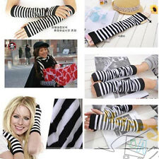 C8 US Korean Fingerless Womens Thumb Hole Long Gloves Arm Warmers Striped Gloves
