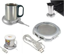 USB Tea Coffee Chocolate Cup Mug Warmer Heater Pad with 4 Port USB Hub PC Laptop