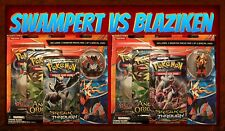 Pokemon Mega Swampert +Mega Blaziken Pin Set of 2 SEALED Blisters 6 Boosters New