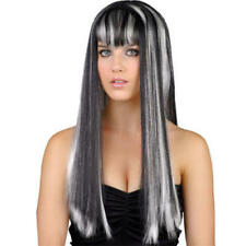 Long Gothic Black & Silver Wig Ladies Halloween Fancy Dress Costume Accessory