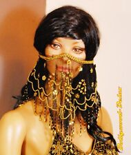 Belly dance Face veil Transparent Face cloth with beads and Sequin