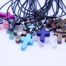 wholesale 12 PCS Natural Stone cross Pendant Necklace 28*20*5mm