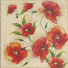 2 Serviettes en papier - Fleurs Coquelicot - Paper Napkins Flower Poppy