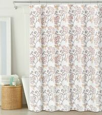 "Blush and Off-White Fabric Shower Curtain: Semi-Sheer, Floral Design, 70""x72"""