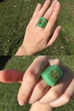 NEW AUTHENTIC GOOD LUCK GREEN JADE .925 STERLING SILVER GOLD RING SZ 7 WOMEN'S