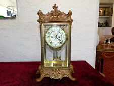 Antique Crystal Regulator Clock by New Haven Clock Company, key wind with Chime