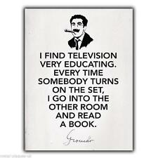 "WALL PLAQUE METAL SIGN Groucho Marx ""I Find Television.."" Quote art print poster"