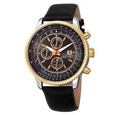 August Steiner AS8189YGB Tachymeter Month Day Date GMT Leather Strap Mens Watch