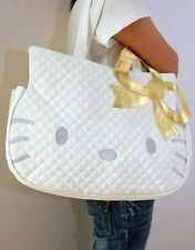 Hello Kitty Large Tote Bag with Gold Bow in Color White