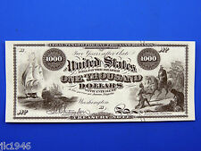 Replica $1,000 1863 2-Year Interest Bearing Note US Paper Money Currency Copy