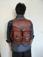 Vintage Leather Macbook Briefcase 2-in-1 Messenger Bag Backpack Rucksack