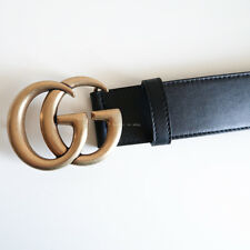 BN GUCCI 'leather belt with double g buckle' black antique gold 4cm thick 65