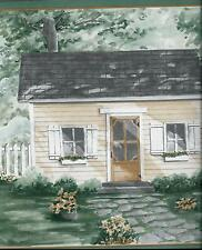 COUNTRY SCENE W/ HOUSE AND PICKET FENCE WALLPAPER BORDER