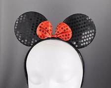 Black sequin minnie mouse ears headband ear hair band costume mickey sparkly