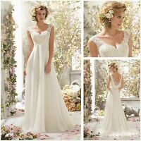New Stock White Ivory Chiffon long maternity Wedding Dress Bridal Gown size 6-16