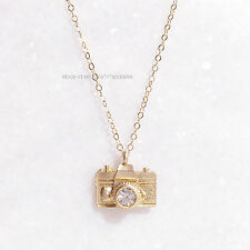 *EXTREMELY RARE* $120 ANTHROPOLOGIE 14K GOLD CAMERA SWAROVSKI NECKLACE BHLDN