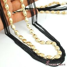N683 FASHION GOLDEN METAL DISC STRAND & MULTI LAYER BLACK CHAIN NECKLACE