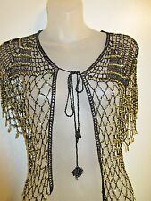 Shawl Wrap Top Gold Beaded Black Knit Crochet Cocktail Party Shiny Formal CHIC
