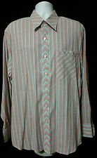 Indigo Palms Tommy Bahama Long Sleeve Button Front Shirt XL Teal Purple Stripes