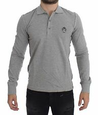 NWT $280 DOLCE & GABBANA Gray Long Sleeve Polo Sweater Pullover IT44 /US34/ XS