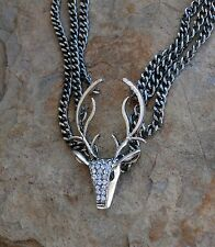 Cowgirl Bling Western DEER skull antler rhinestones Hunting Gypsy necklace