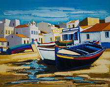 "Jean-Claude Quilici ""The Blue Boat in Alvor"" Print Art"