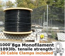 1000' 8GA CABLE SUPPORTS POULTRY AVIARY NETTING DEER BLOCK NET & 20 Cable Clamps