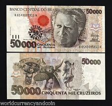 BRAZIL 50 on 50000 CRUZEIROS P237 1993 HORSE RAFT OVP.UNC CURRENCY PACK 100 PCS