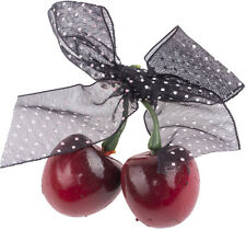 Cute CHERRY Kirschen POLKA DOT Bow BROSCHE Rockabilly