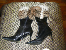 Ladies black boots size 6 euro 39 by dune with Genuine Fur Tops