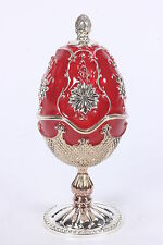 Wallace Silversmiths 2002 Nativity Red Enameled Egg Music Box Plays Silent Night